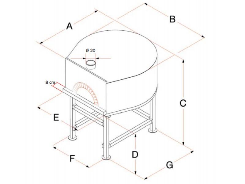 Forno tradizionale a legna mod tl180 180x180 cm 14 16 pizze esterno acciaio cemento - Forno tradizionale e microonde insieme ...